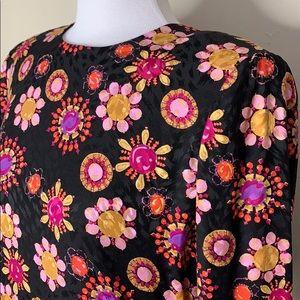 Carolina Herrera Dresses - Carolina Herrera | Floral Shoulder Pad Silk Dress